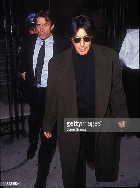 Robert De Niro and Al Pacino during Joseph Papp Funeral Service in New York NY United States