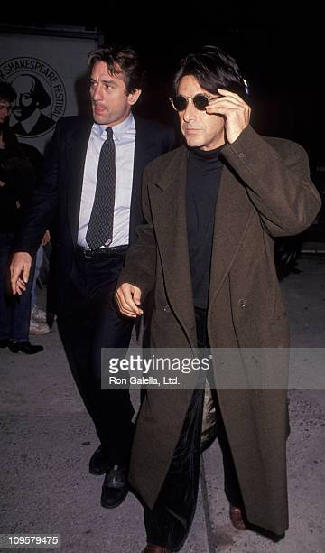 Robert De Niro and Al Pacino during Memorial for Joseph Papp November 1 1991 at Public Theater in New York City New York United States
