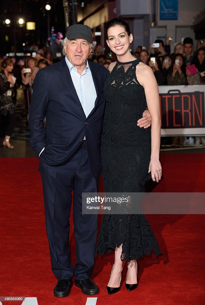 Robert De Niro and Anne Hathaway attend the UK Premiere of 'The Intern' at Vue West End on September 27, 2015 in London, England.