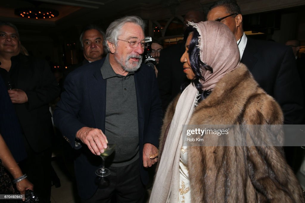 Robert De Niro (L) and Aretha Franklin attend the 2017 Tribeca Film Festival Opening Night Party at Tavern On The Green on April 19, 2017 in New York City.
