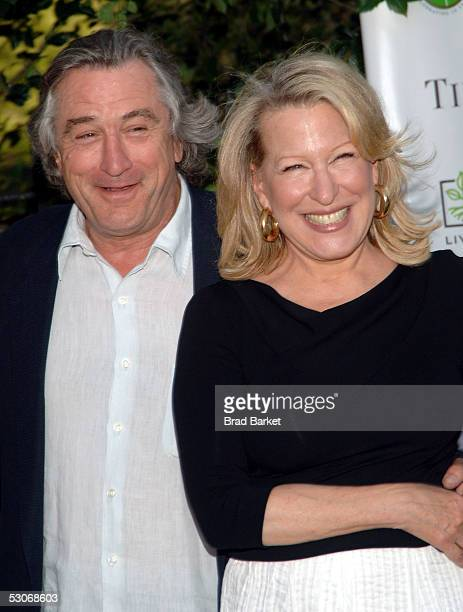 Robert De Niro and Bette Midler pose at Bette Midler's New York Restoration Project's 4th Annual Picnic at Spanish Harlem's Thomas Jefferson Park on...