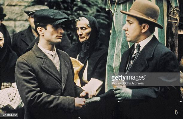 Robert De Niro and Bruno Kirby perform a scene in The Godfather Part II directed by Francis Ford Coppola in 1974 in New York New York