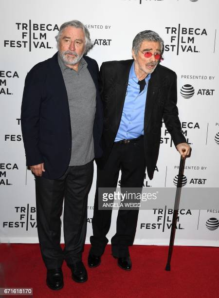 Robert De Niro and Burt Reynolds attend the 'Dog Years' premiere during 2017 Tribeca Film Festival at Cinepolis Chelsea on April 22 2017 in New York...