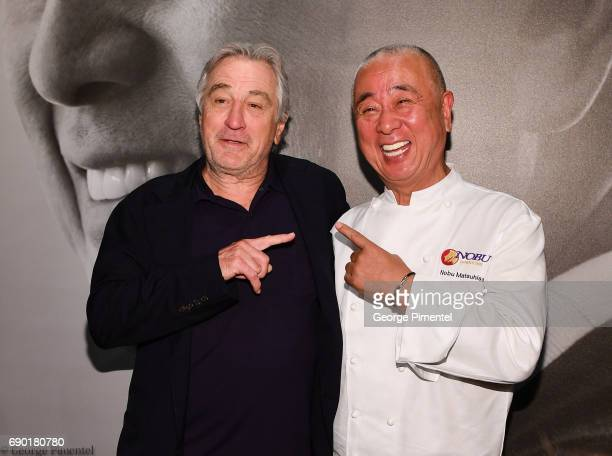 Robert De Niro and Chef Nobu Matsuhisa attend the Nobu Residences Toronto unveiling plans with Nobu hospitality press conference at Nobu Sales Centre...