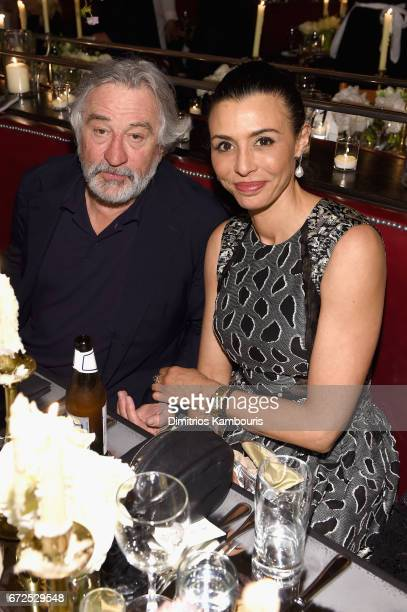 Robert De Niro and Drena De Niro attend the CHANEL Tribeca Film Festival Artists Dinner at Balthazar on April 24 2017 in New York City