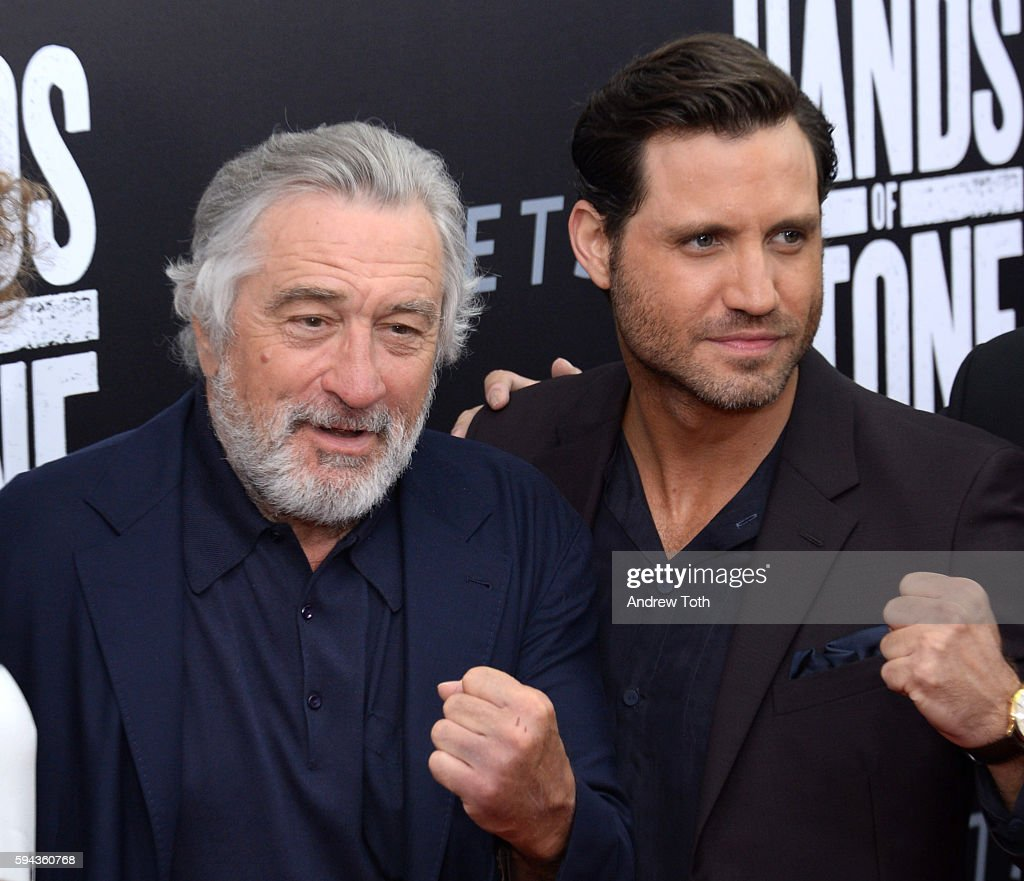 Robert De Niro and Edgar Ramirez attend the 'Hands of Stone' US premiere at SVA Theater on August 22 2016 in New York City