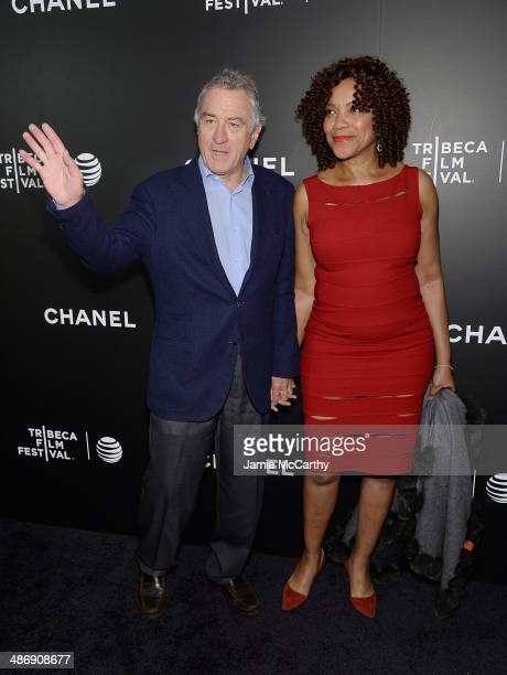 Robert De Niro and Grace Hightower attend the closing night gala premiere of 'Begin Again' during the 2014 Tribeca Film Festival at BMCC Tribeca PAC...