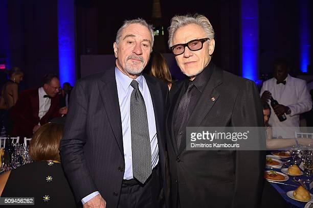 Robert De Niro and Harvey Keitel attend the 2016 amfAR New York Gala at Cipriani Wall Street on February 10 2016 in New York City