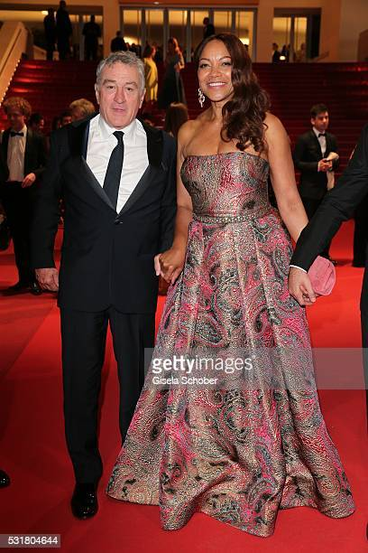Robert de Niro and his wife Grace Hightower leave the 'Hands Of Stone' premiere during the 69th annual Cannes Film Festival at the Palais des...