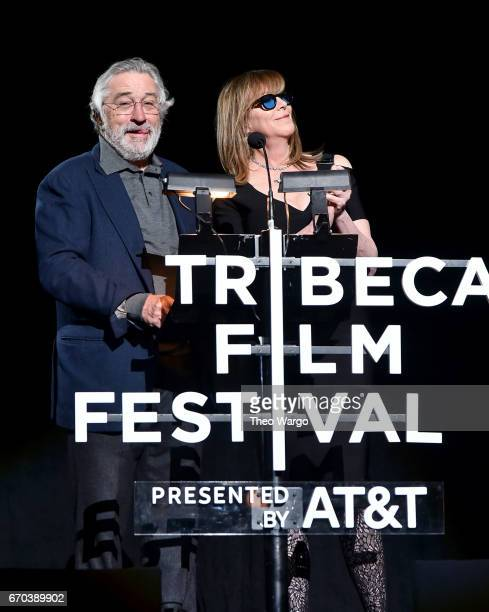 Robert De Niro and Jane Rosenthal speak onstage at the 'Clive Davis The Soundtrack of Our Lives' Premiere during the 2017 Tribeca Film Festival at...