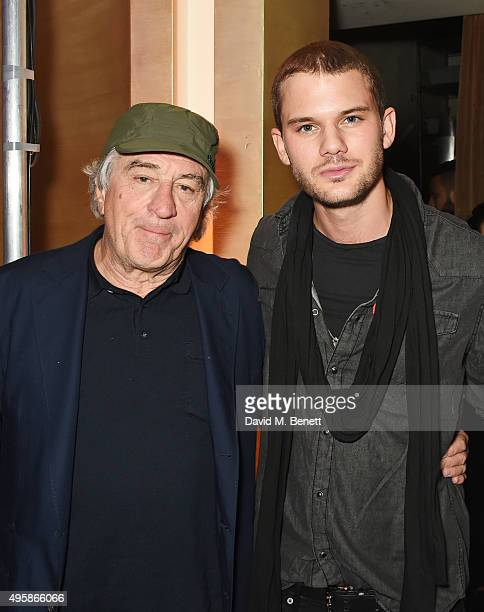 Robert De Niro and Jeremy Irvine attend the Nobu Berkeley St 10th anniversary party supported by Malone Souliers and Ciroc Vodka on November 5 2015...