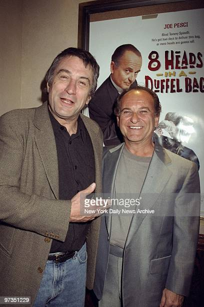 Robert De Niro and Joe Pesci get together at the Tribeca Grill for a party to mark the premiere of '8 Heads in a Duffel Bag' Pesci stars in the movie