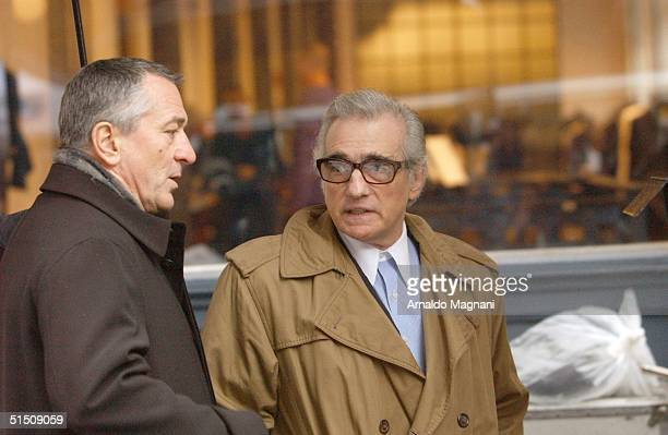 Robert De Niro and Martin Scorsese film a commercial for American Express in SoHo October 19 2004 in New York City