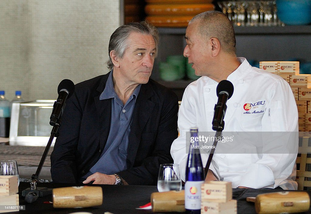 <a gi-track='captionPersonalityLinkClicked' href=/galleries/search?phrase=Robert+De+Niro&family=editorial&specificpeople=201673 ng-click='$event.stopPropagation()'>Robert De Niro</a> and <a gi-track='captionPersonalityLinkClicked' href=/galleries/search?phrase=Nobu+Matsuhisa&family=editorial&specificpeople=4292658 ng-click='$event.stopPropagation()'>Nobu Matsuhisa</a> at the Nobu Perth opening press conference on March 25, 2012 in Perth, Australia.