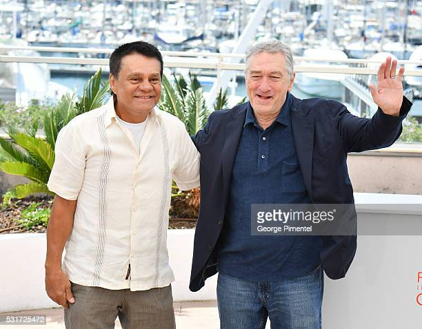 Robert De Niro and Roberto Duran attends the 'Hands Of Stone' Photocall at the annual 69th Cannes Film Festival at Palais des Festivals on May 16...