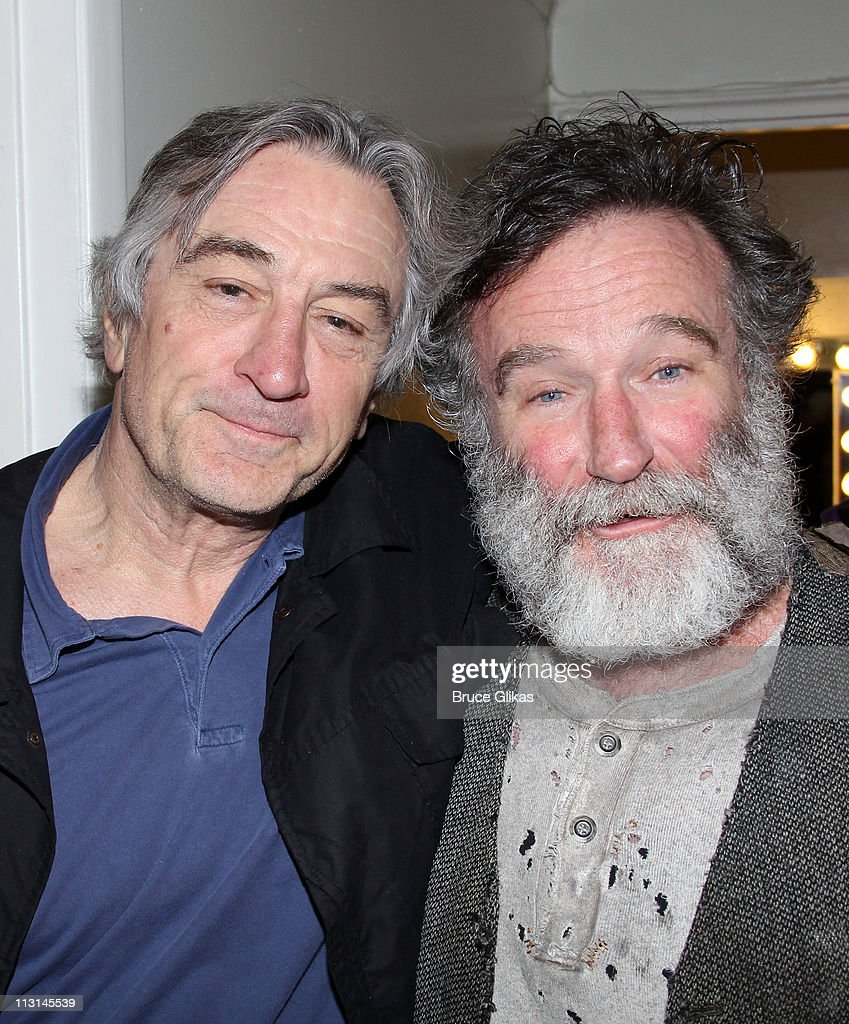 <a gi-track='captionPersonalityLinkClicked' href=/galleries/search?phrase=Robert+De+Niro&family=editorial&specificpeople=201673 ng-click='$event.stopPropagation()'>Robert De Niro</a> and <a gi-track='captionPersonalityLinkClicked' href=/galleries/search?phrase=Robin+Williams+-+Actor&family=editorial&specificpeople=174322 ng-click='$event.stopPropagation()'>Robin Williams</a> (they co-starred in the film 'Awakenings' together) pose backstage at the hit play 'Bengal Tiger at the Baghdad Zoo' on Broadway at The Richard Rogers Theater on April 24, 2011 in New York City.