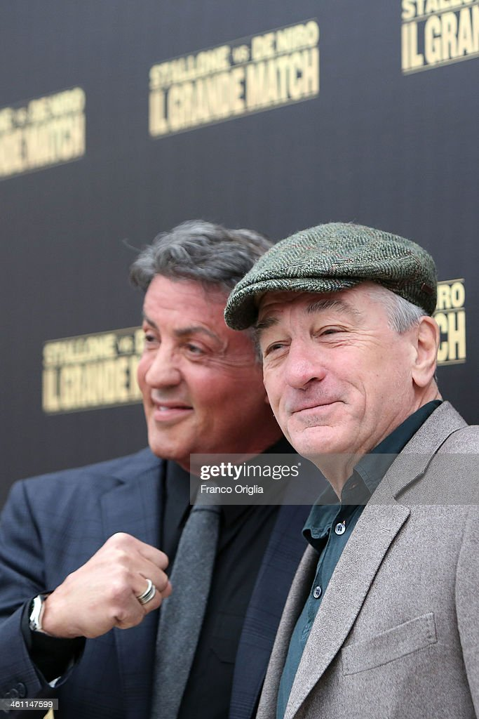 <a gi-track='captionPersonalityLinkClicked' href=/galleries/search?phrase=Robert+De+Niro&family=editorial&specificpeople=201673 ng-click='$event.stopPropagation()'>Robert De Niro</a> (R) and <a gi-track='captionPersonalityLinkClicked' href=/galleries/search?phrase=Sylvester+Stallone&family=editorial&specificpeople=202604 ng-click='$event.stopPropagation()'>Sylvester Stallone</a> attend the 'Grudge Match' Rome photocall on January 7, 2014 in Rome, Italy.