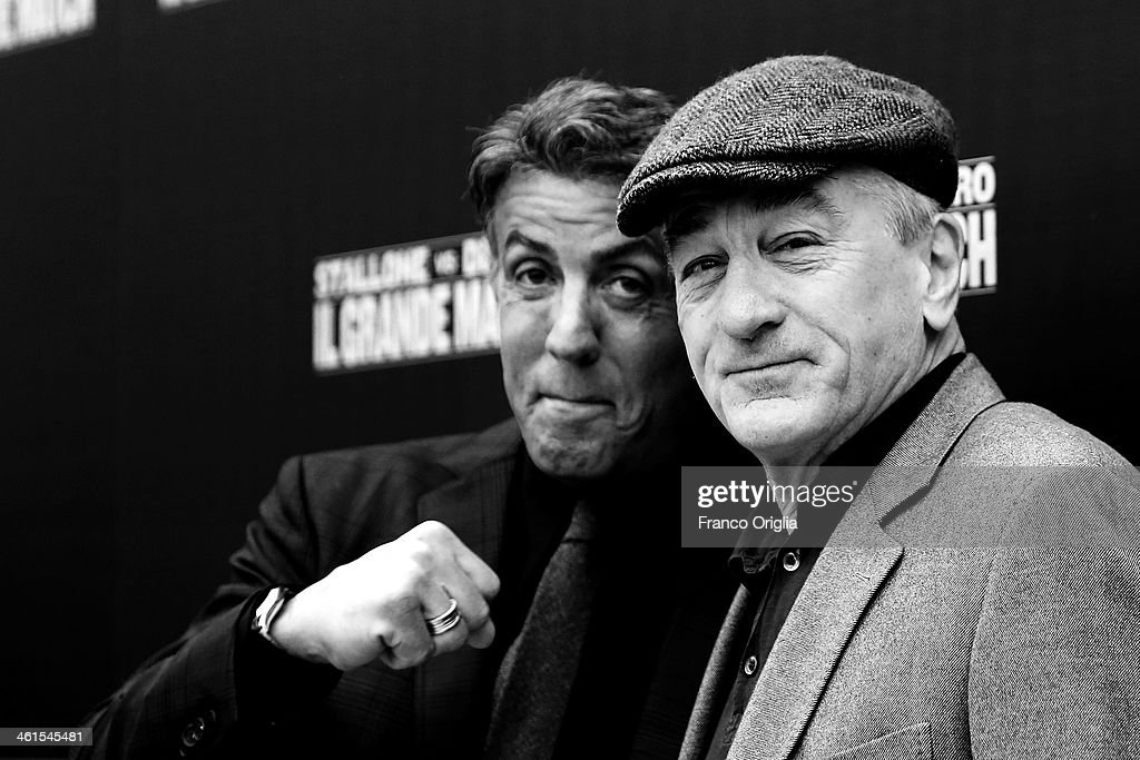 Robert De Niro (R) and Sylvester Stallone attend the 'Grudge Match' Rome photocall on January 7, 2014 in Rome, Italy.