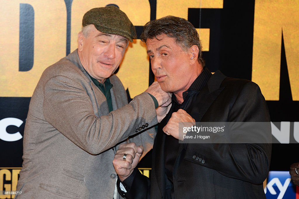 <a gi-track='captionPersonalityLinkClicked' href=/galleries/search?phrase=Robert+De+Niro&family=editorial&specificpeople=201673 ng-click='$event.stopPropagation()'>Robert De Niro</a> and Sylvestor Stallone attend a photo call for 'Grudge Match' at The Dorchester Hotel on January 9, 2014 in London, England.