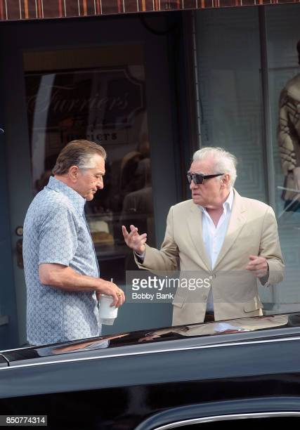 Robert De Niro as 'Frank 'The Irishman' Sheeran and director Martin Scorsese on the set of The Irishman on September 21 2017 in New York City
