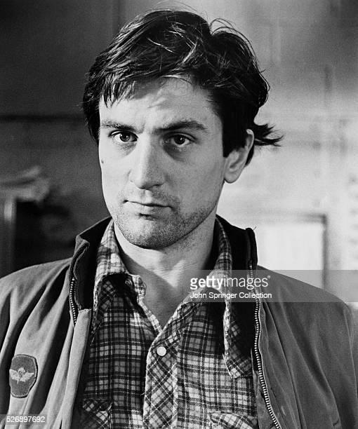 Robert De Niro as Travis Bickle in a closeup from Martin Scorsese's film 'Taxi Driver'