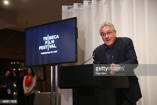Robert De Niro attends the 2015 Tribeca Film Festival Opening Press Lunch during the 2015 Tribeca Film Festival at Thalassa on April 15 2015 in New...