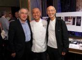 Robert De Niro Chef Nobu Matsuhisa and Meir Teper Partners of Nobu Hospitality attend the announcement of the Nobu Hotel at Caesars Palace Las Vegas...