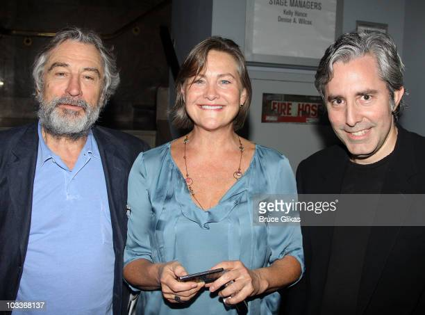 Robert De Niro Cherry Jones and Paul Weitz pose at the 'Trust' OffBroadway opening night at the Second Stage Theatre on August 12 2010 in New York...