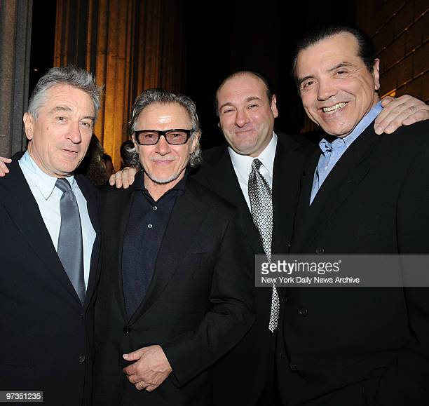 Robert De Niro Harvey Keitel James Gandolfini and Chazz Palminteri get together for a photo at the vanity fair Tribeca Film Festival Party held at...