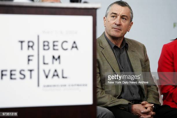Robert De Niro is on hand at American Express headquarters on Vesey St for a news conference kicking off the third annual Tribeca Film Festival He...