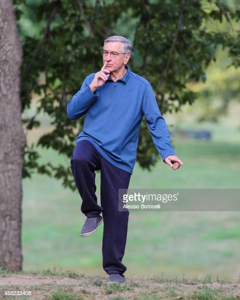 Robert De Niro is seen doing Tai Chi on set of 'The Intern' in Prospect Park on September 10 2014 in the Brooklyn borough of New York City