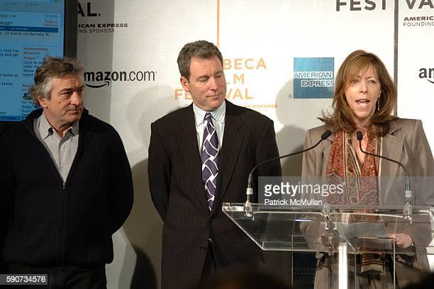 Robert De Niro John Hayes and Jane Rosenthal attend The Tribeca Film Festival Announces New Collaborative Partnership with American Express and...