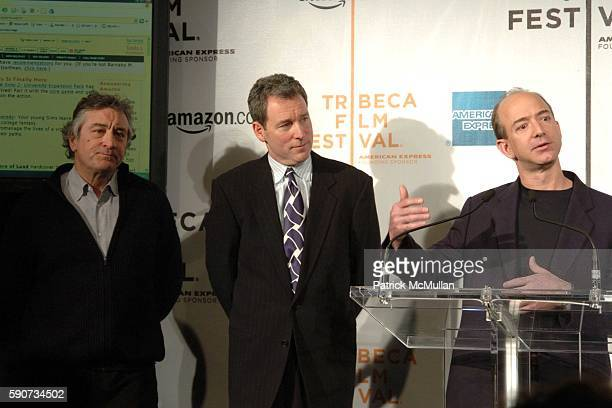 Robert De Niro John Hayes and Jeff Bezos attend The Tribeca Film Festival Announces New Collaborative Partnership with American Express and Amazoncom...