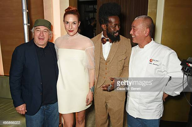 Robert De Niro Mary Alice Malone Creative Director of Malone Souliers Roy Luwolt Managing Director of Malone Souliers and chef Nobu Matsuhisa attend...