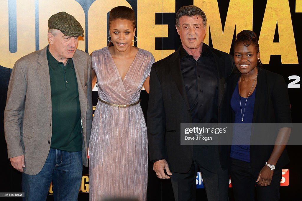 Robert De Niro, Natasha Jonas, Sylvestor Stallone and Nicola Dams attend a photo call for 'Grudge Match' at The Dorchester Hotel on January 9, 2014 in London, England.
