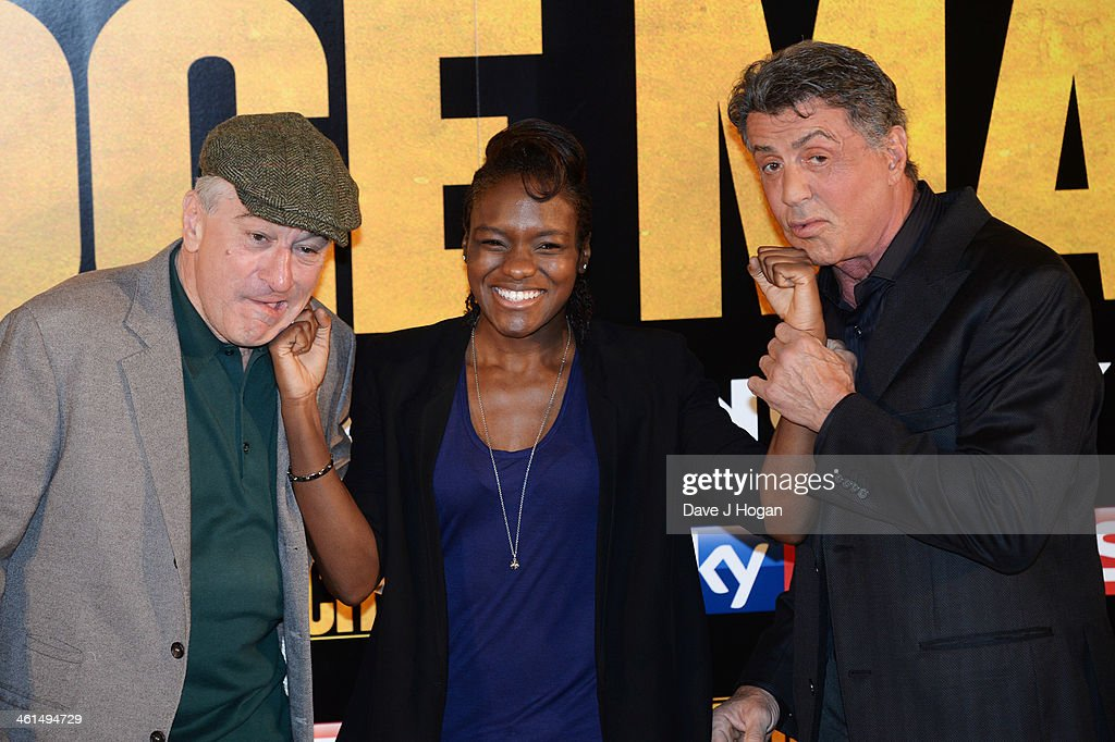 Robert De Niro, Nicola Adams and Sylvestor Stallone attend a photo call for 'Grudge Match' at The Dorchester Hotel on January 9, 2014 in London, England.
