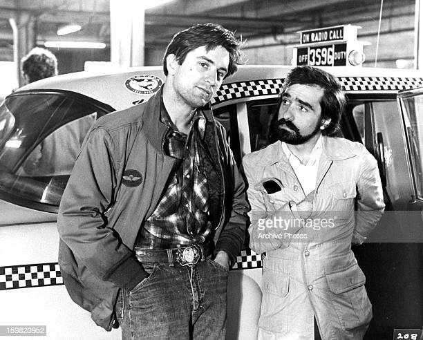 Robert De Niro on the set with Martin Scorsese on the set of the film 'Taxi Driver' 1976