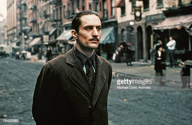 Robert De Niro performs a scene in The Godfather Part II directed by Francis Ford Coppola in 1974 in New York New York