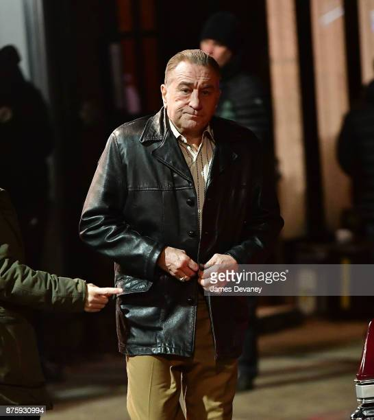 Robert De Niro seen on location for 'The Irishman' on the Lower East Side on November 17 2017 in New York City