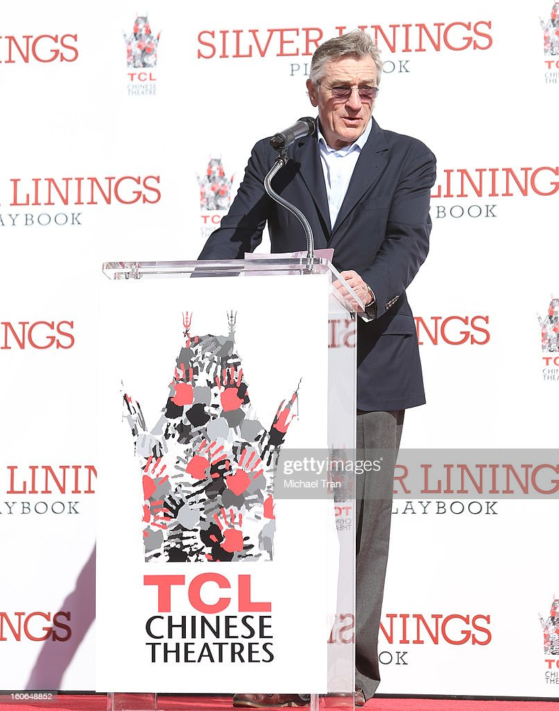 <a gi-track='captionPersonalityLinkClicked' href=/galleries/search?phrase=Robert+De+Niro&family=editorial&specificpeople=201673 ng-click='$event.stopPropagation()'>Robert De Niro</a> speaks at his hand and footprint ceremony held in conjunction with the film 'Silver Linings Playbook' held at TCL Chinese Theatre on February 4, 2013 in Hollywood, California.