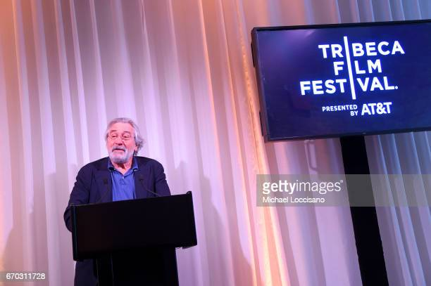 Robert De Niro speaks at the 2017 Tribeca Film Festival Opening Press Lunch at Thalassa on April 19 2017 in New York City
