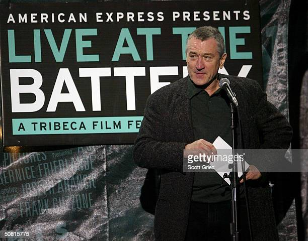 Robert De Niro speaks at the American Express 'Live at the Battery' Concert during the 2004 Tribeca Film Festival May 8 2004 in New York City