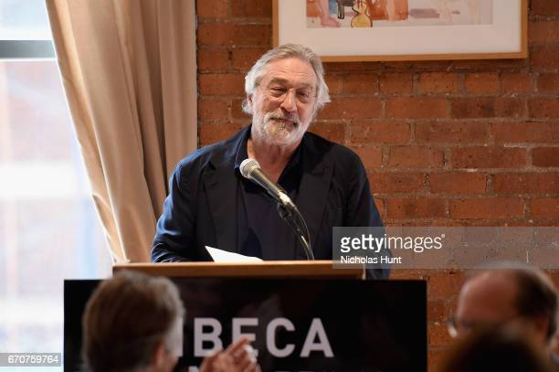 Robert De Niro speaks at the jury welcome lunch at Tribeca Grill Loft on April 20 2017 in New York City