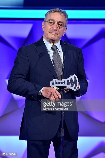 Robert De Niro speaks onstage during the 27th Annual GLAAD Media Awards at Waldorf Astoria Hotel in New York on May 14 2016 in New York City