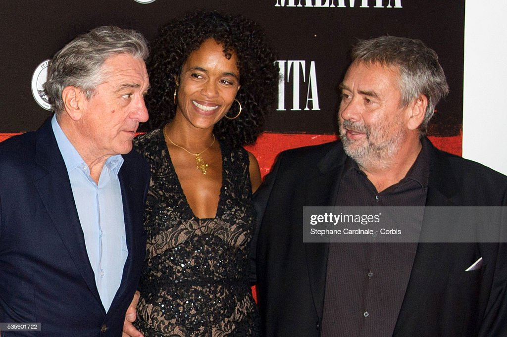 Robert De Niro, Virginie Silla and director Luc Besson attend the 'Malavita' premiere at Europacorp Cinemas at Aeroville Shopping Center, in Roissy-en-France, France.