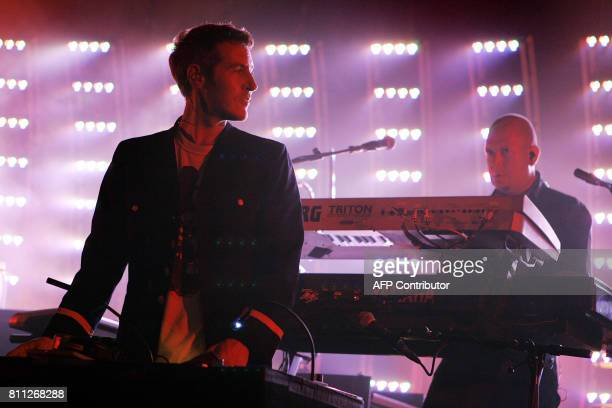 Robert Del Naja alias 3D and Arden Hart from the British trip hop band Massive Attack performs in the Stravinski Auditorium during the 40th Montreux...
