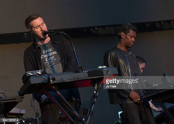Robert Del Naja and Azakel perform on stage with Massive Attack as part of the Barclaycard Presents British Summer Time Hyde Park Day 1 at Hyde Park...