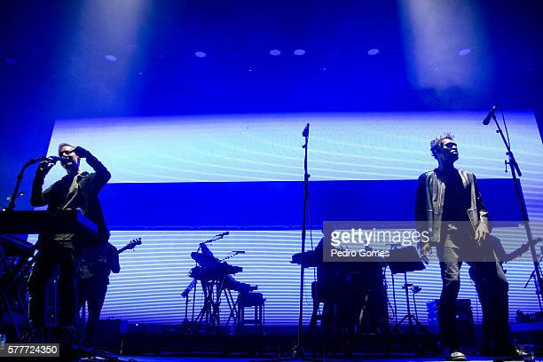 Robert Del Naja and Grant Marshall of Massive Attack perform on the main stage at Super Bock Super Rock festival on July 15 2016 in Lisbon Portugal