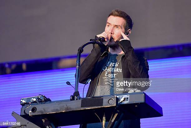 Robert Del Naja of Massive Attack performs on stage at the Barclaycard Presents British Summer Time Festival in Hyde Park on July 1 2016 in London...