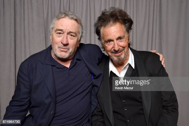 Robert DeNiro and Al Pacino pose for a portrait at 'The Godfather' 45th Anniversary Screening during 2017 Tribeca Film Festival closing night at...